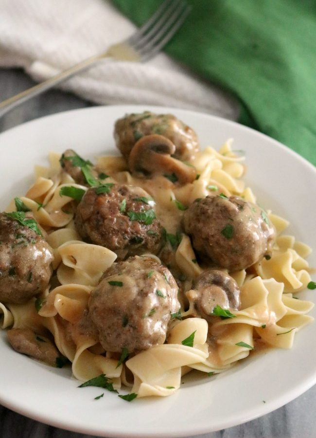 Meatballs Stroganoff is made with a sour cream gravy which is very easy to prepare without the use of canned soups or condensed mixes. My Meatballs Stroganoff with Sour Cream Gravy Recipe is kid-friendly comfort food and is on the dinner menu tonight!