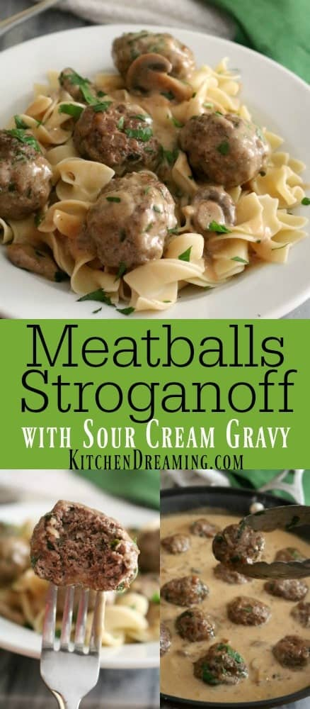 a pinnable image of meatballs stroganoff.