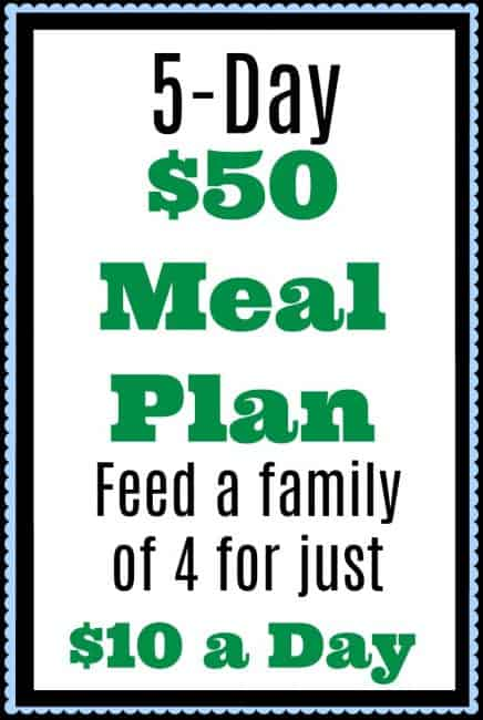 feed your family for just 10 a day a 5 day 50 meal plan kitchen