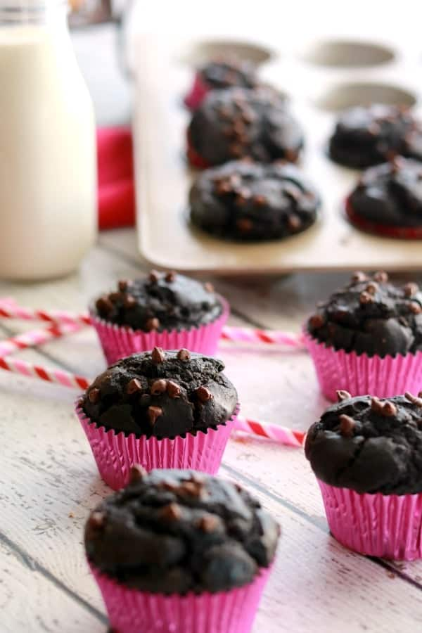 Have you seen the ginormous Double Chocolate Muffins sold in the bakery of the warehouse stores? They are rich and chocolatey and highly addictive. They are my favorite muffin ever - now we can make them at home with this simple recipe.