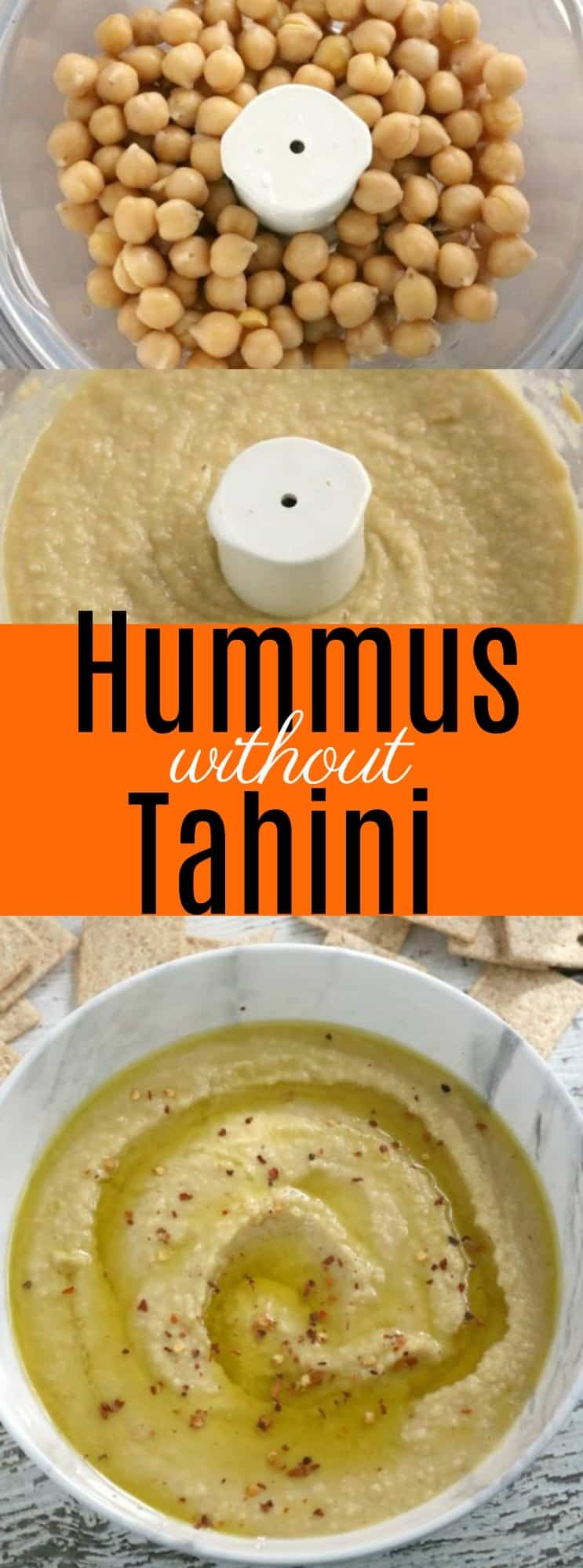 Hummus is a quick and healthy snack but can be expensive. This Hummus without Tahini is creamy and smooth and won't break the bank! #Hummus #without #tahini #Mediterranean #Recipe