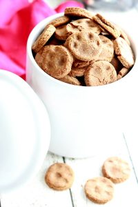 """If any the members of your family are of the furry four-legged kind, treat them to these homemade Peanut Butter Dog Biscuits. My dog is always happy to have a snack and these are """"cookies"""" I feed good about. Packed with natural peanut butter, whole wheat flour and wheat germ, my dog snaps them up."""