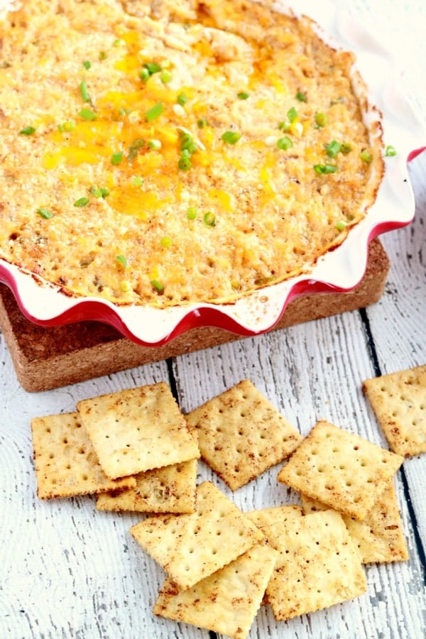 These Seasoned Crackers are perfectly crisp and prepared with Old Bay seasoning giving them a unique flavor! They make a perfect snack or accompaniment to a bowl of Clam Chowder or Hot Crab Dip (pictured below)! Your guests will go crazy for these crackers.
