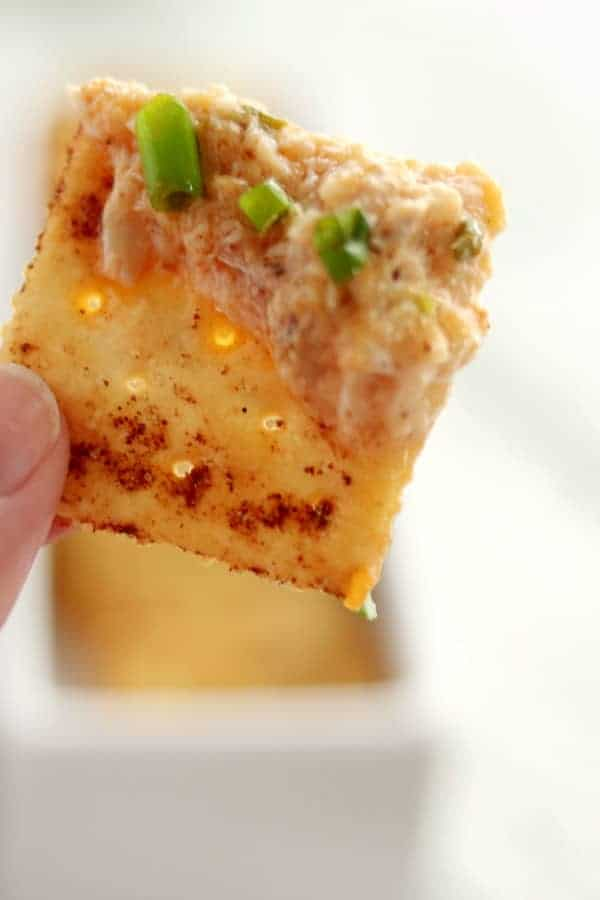 Hot Crab Dip on a cracker