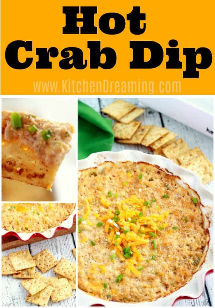 This Hot Crab Dip is slightly spicy from a few dashes of our favorite hot sauce and tangy from just a pinch of dry mustard. We serve this delicious appetizer hot with flavored saltine crackers which I prepare in the oven while the dip bakes. It's the perfect appetizer for #Party #holiday #gameday #tailgating
