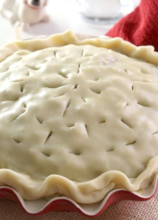 A tourtiere, or French Meat pie, ready for the oven.