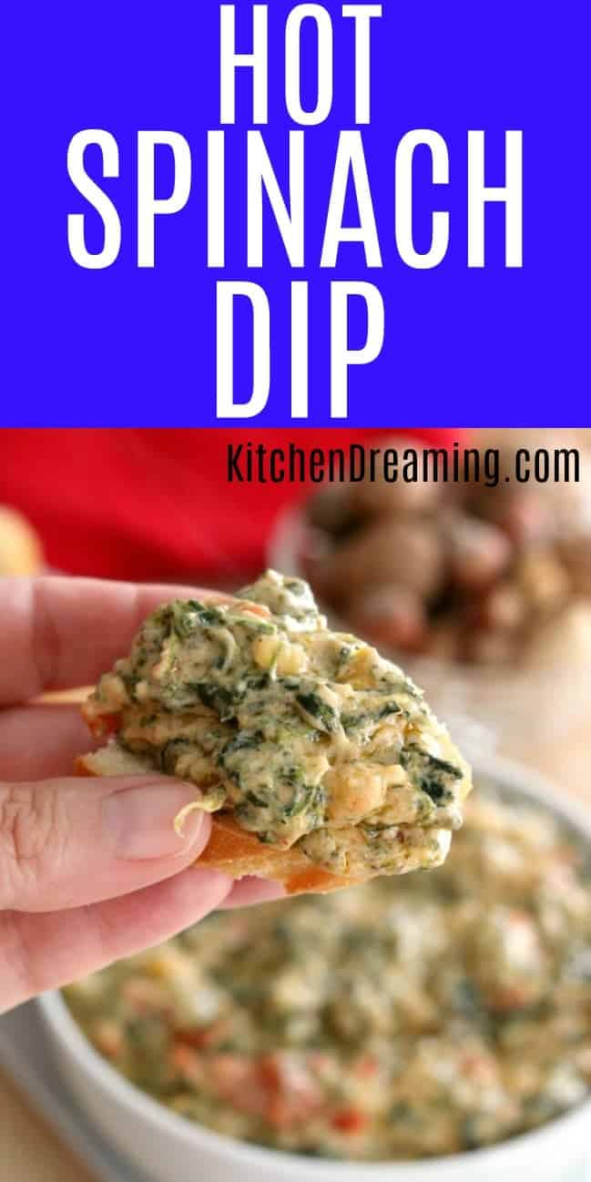 A pinnable Pinterest image of Hot Spinach Dip.