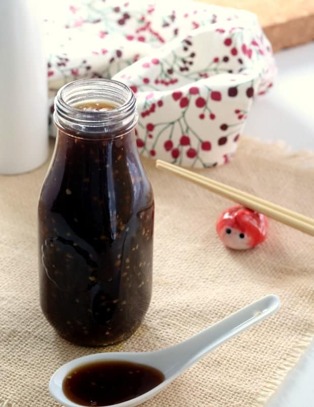 A bottle of Homemade Teriyaki sauce