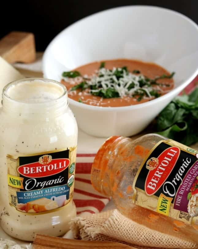 New Bertolli Organic Sauces - Fire Roasted Garlic Marinara and Organic Creamy alfredo combine to create a Rosa Sauce.