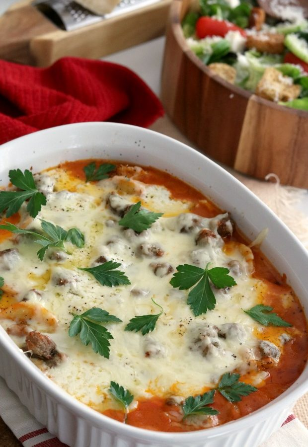 Baked Ravioli with Rosa Pasta Sauce