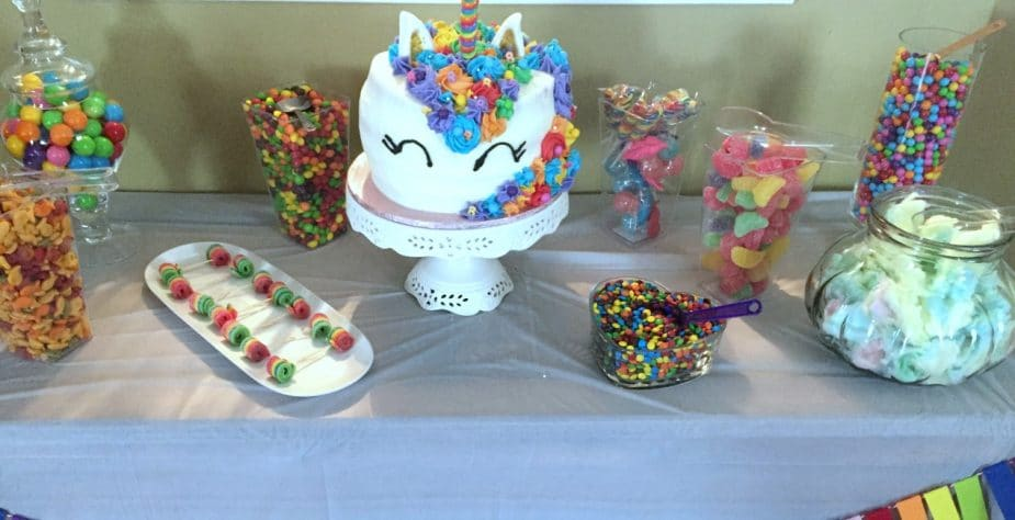 The candy buffet of the kids birthday party