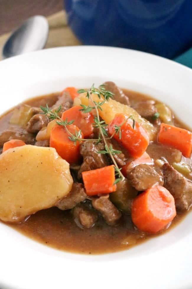 Close up of Irish Beef & Guinness Stew.
