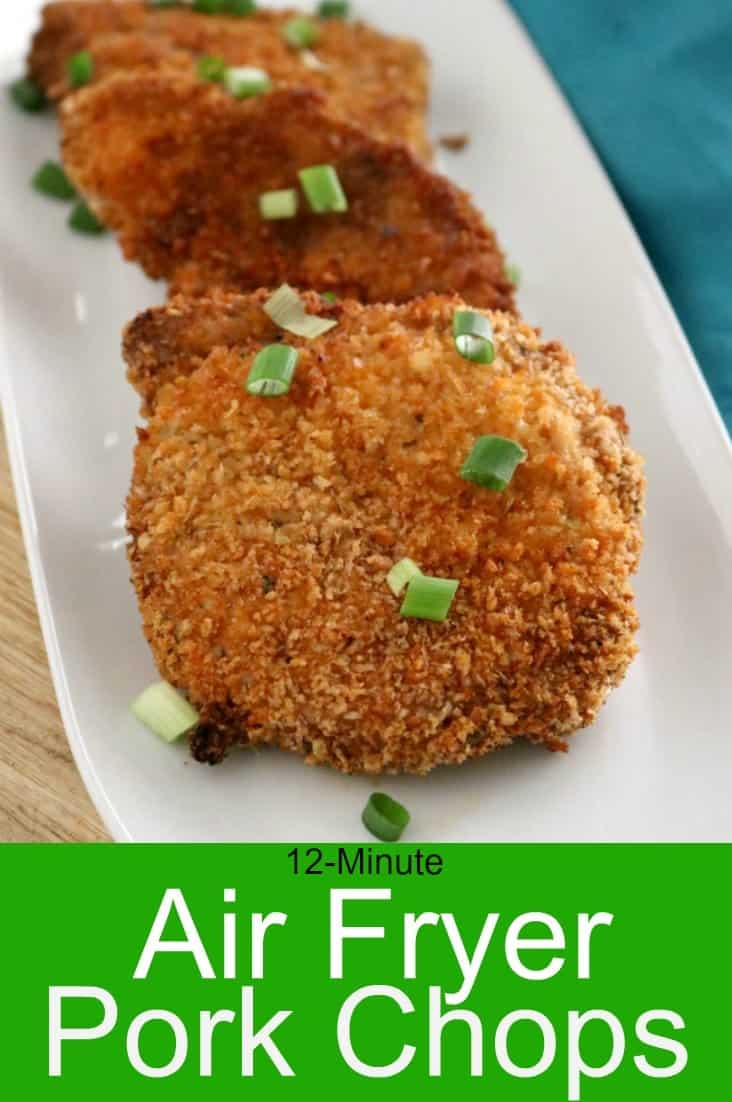 A plate of zest breaded pork chops just out of the air fryer.