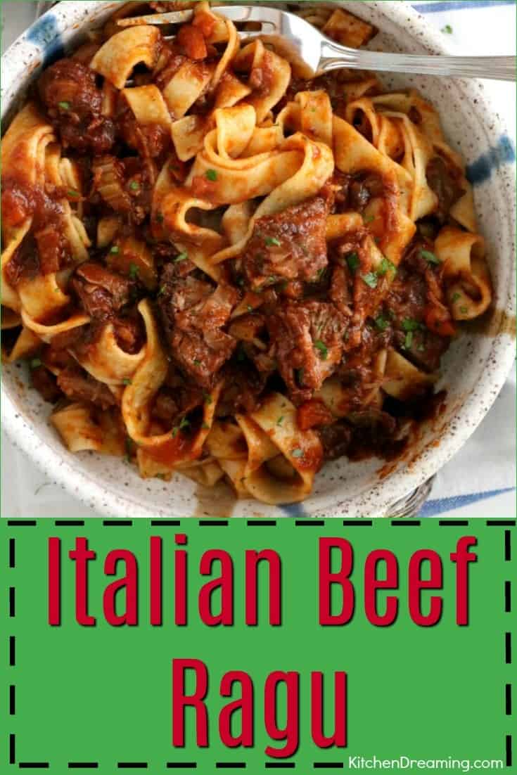 A staple of northern Italy, a ragu is a thick, full-bodied meat sauce that usually contains beef, tomatoes, onions, celery, carrots, and garlic. The already flavorful sauce is then further enhanced with wine and herbs. #Italian #Beef #Ragu #Sauce #Pasta #KitchenDremaing