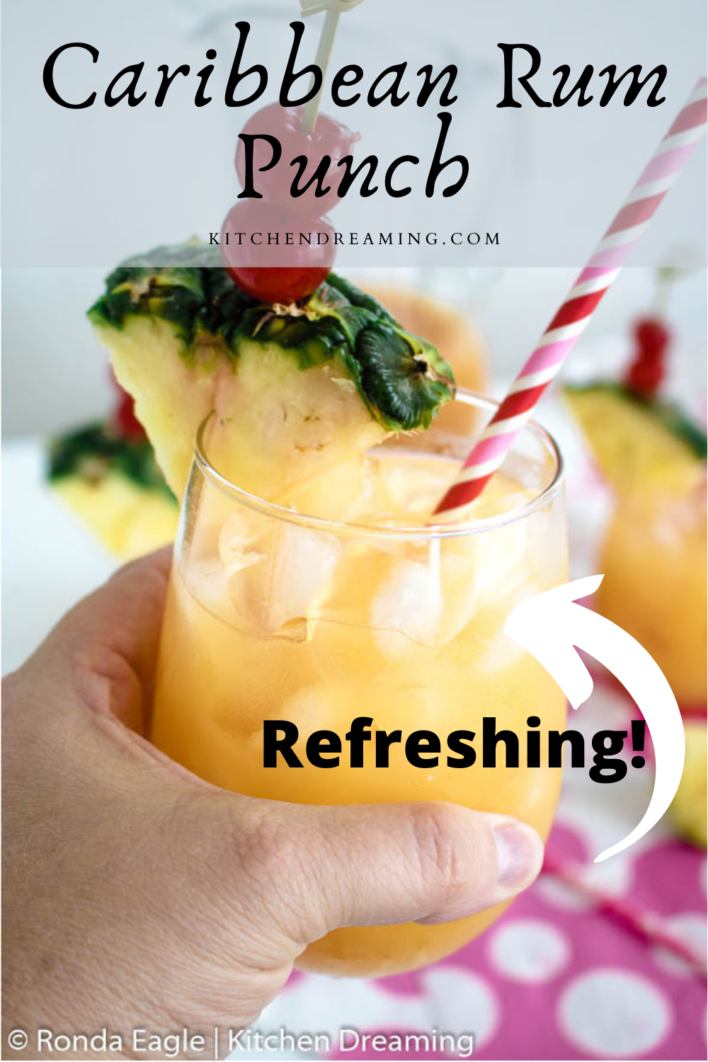A pinnable image for Pinterest of a class of Caribbean Rum Punch.