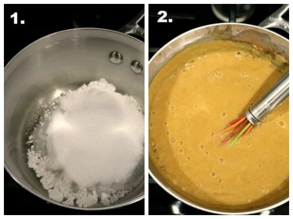 A collage for the instructions on how to make pumpkin pie pudding. 1. add the sugar and cornstarch into the pan and stir to combine. 2. Add the rest of the ingredients and bring to a boil to thicken. 3. pour into dessert cups or ramekins. 4. chill and enjoy