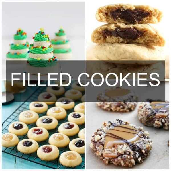 a collage of filled cookies including thumbprint, turtle, frosting, and chocolate.