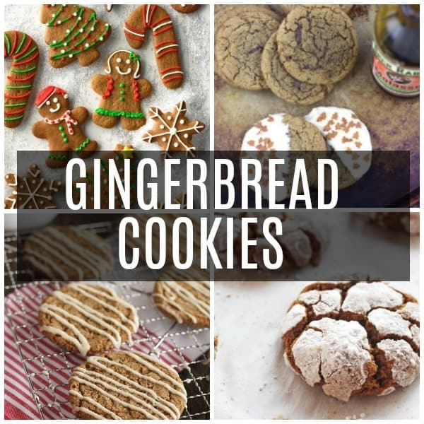 a collage of gingerbread cookies including krinkles, glazed, frosted and cut outs