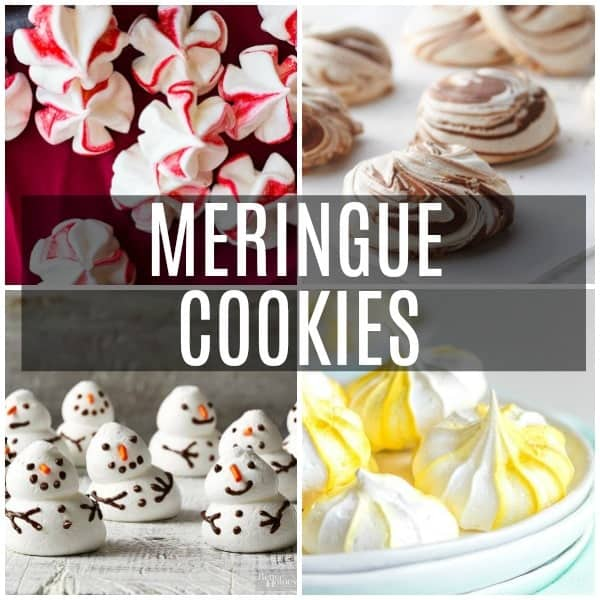 A collage of meringue cookies including lemon meringue, peppermint meringue, nutella meringue, and snowmen meringue cookies.