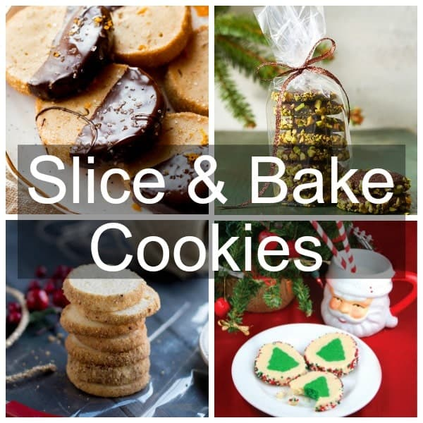 a collage of slice & bake cookies, pistachio, chocolate-orange, christmas tree and traditional sugar cookie