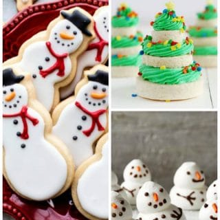 A collage image showing differnt cookies included in the round up, sugar cookie cut-outs, filled christmas trees, and meringue snowmen cookies.