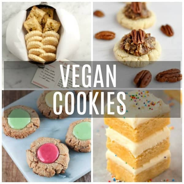 a collage of vegan cookies including thumbprint, shortbread, pecan pie, and sugar cookie bars.