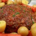 Instant Pot Pressure Cooker Meatloaf whole plated meatloaf close up