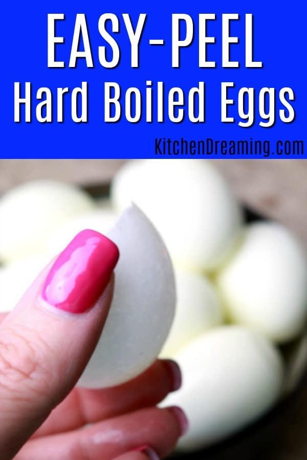 A pinnable Pinterest image for easy-peel hardboiled eggs