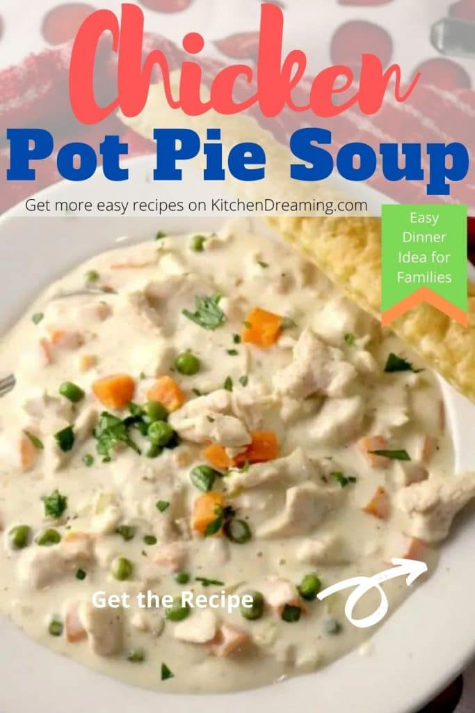 A Pinterest pin image of Chicken Pit pie soup.