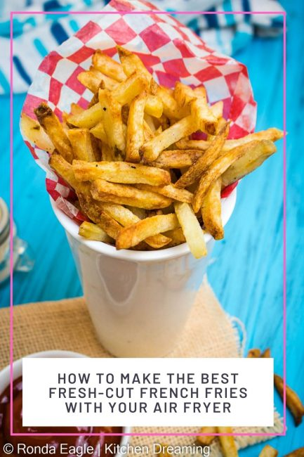 A pinnable image of Air fryer French fries.