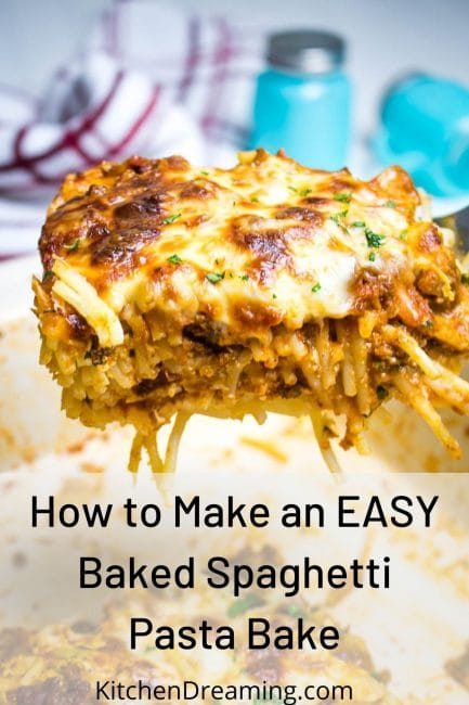 In image of a baked spaghetti casserole in a baking pan a slice on a spatula.
