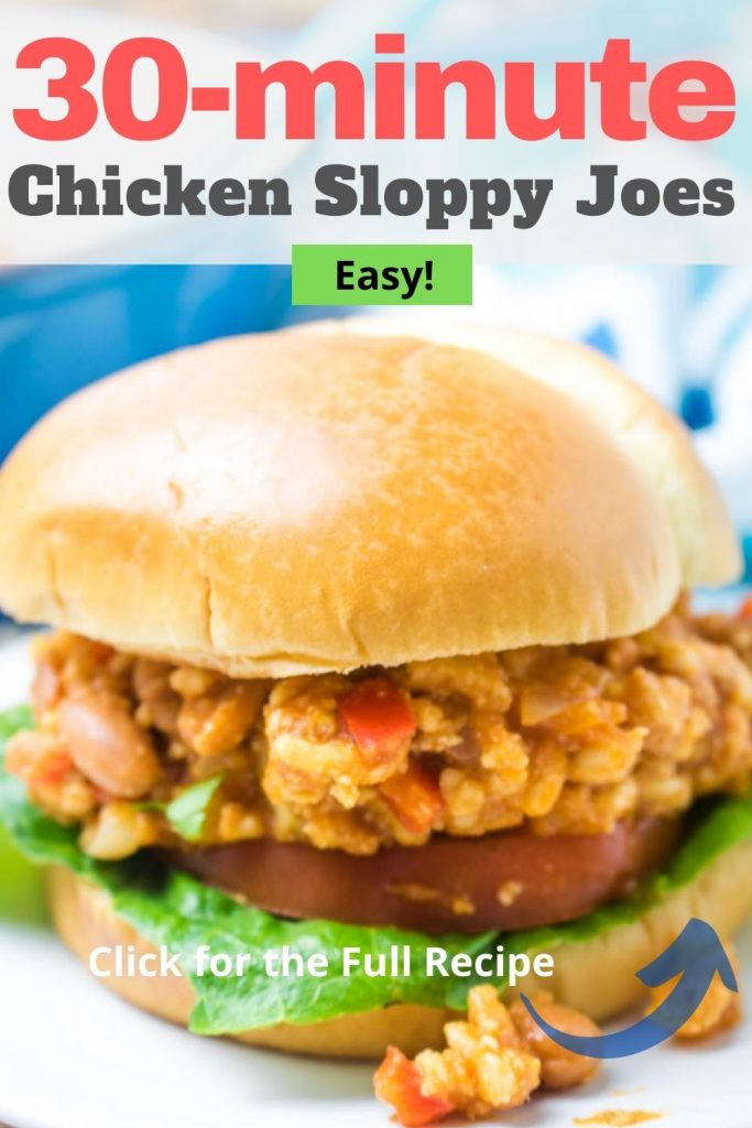 A Pinterest pinnable image of chicken sloppy joes. Save this recipe for later!