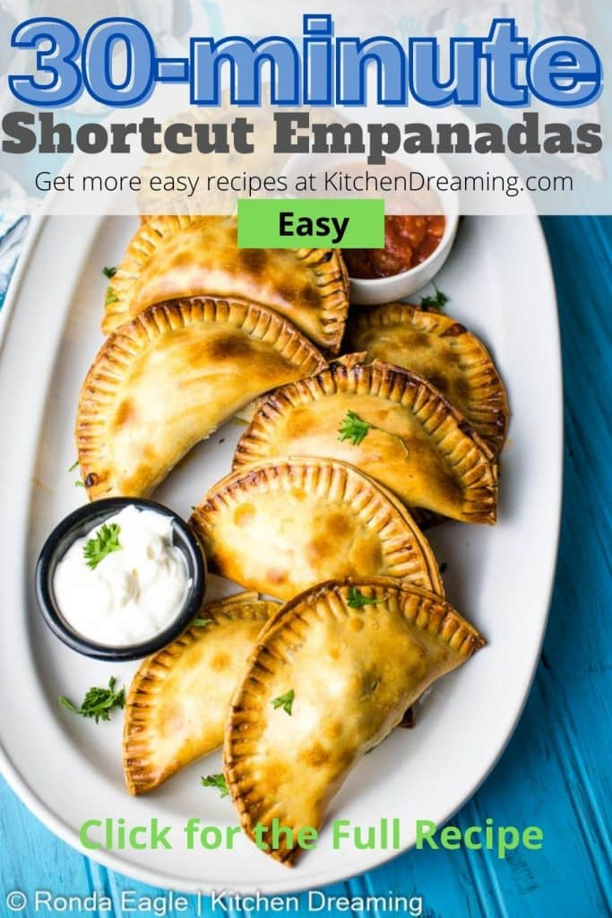 A pin image for easy shortcut beef empanadas that start with a pre-cut empanada disc instead of a homemade empanada dough making this recipe ready in about 30-minutes!