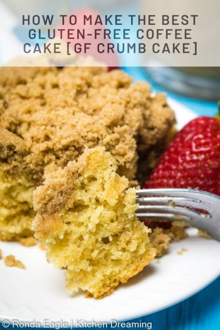 A pinnable image of a gluten-free coffee cake slice.