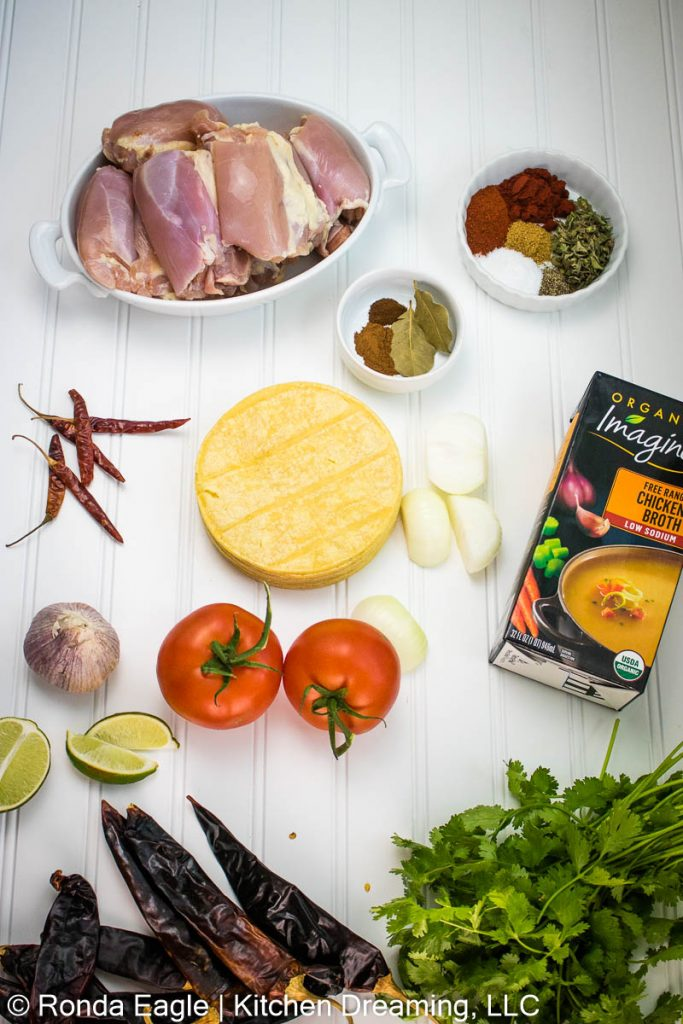 An image of the ingredients for chicken birria tacos.