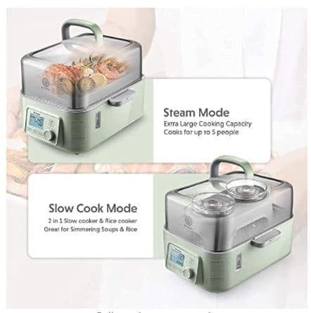 Image of the various modes of the buydeem food steamer