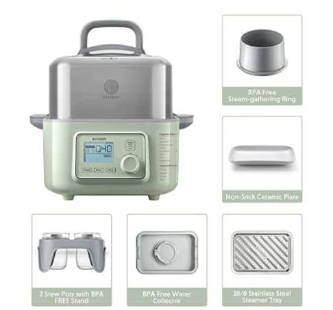 Image of the accessories that come with the buydeem food steamer.